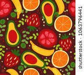 seamless fruit pattern with... | Shutterstock .eps vector #1063796441
