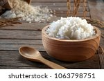 Jasmine Rice In Wood Bowl And...
