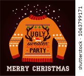ugly christmas party sweater | Shutterstock .eps vector #1063799171