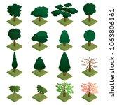 isometric trees vector set.... | Shutterstock .eps vector #1063806161