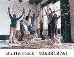 real fun   full length of happy ... | Shutterstock . vector #1063818761