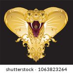 golden cobra decorated with... | Shutterstock .eps vector #1063823264