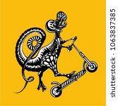 tyrannosaurus rex is riding on... | Shutterstock .eps vector #1063837385