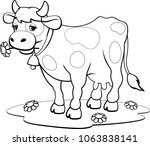 cow coloring pages | Shutterstock .eps vector #1063838141