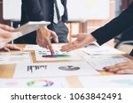 close up hand of marketing... | Shutterstock . vector #1063842491