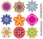9 colorful geometric flowers... | Shutterstock .eps vector #1063846391