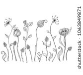 hand drawn sketch style flowers.... | Shutterstock .eps vector #1063849871