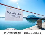 rope with a do not cross the... | Shutterstock . vector #1063865681