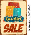 illustration of colorful shopping bag in vintage sale banner - stock vector