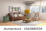 interior living room. 3d... | Shutterstock . vector #1063880534