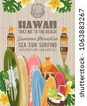 hawaii vector travel... | Shutterstock .eps vector #1063883267