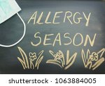 Small photo of Allergy season written on black chalkboard with flower drawing and a green medical face mask. Allergy or atopy season concept or background