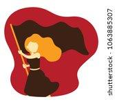 woman holding blank flag vector ...   Shutterstock .eps vector #1063885307
