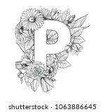 vintage flower alphabet. hand... | Shutterstock .eps vector #1063886645
