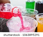 pouring soft drink with ice... | Shutterstock . vector #1063895291