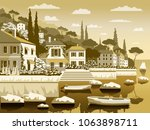 mediterranean romantic... | Shutterstock .eps vector #1063898711
