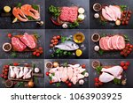 collage of various fresh meat ... | Shutterstock . vector #1063903925