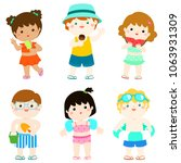 summer multicultural cute kids... | Shutterstock .eps vector #1063931309