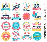 happy birthday vector logo for... | Shutterstock .eps vector #1063941611
