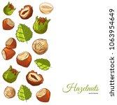 hazel nut banner. isolated... | Shutterstock .eps vector #1063954649