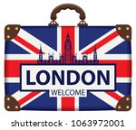 vector travel banner with... | Shutterstock .eps vector #1063972001