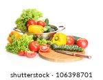fresh vegetables and knife on... | Shutterstock . vector #106398701