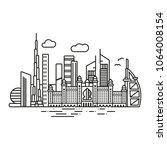 line icon style dubai cityscape ... | Shutterstock .eps vector #1064008154
