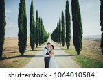 happy stylish smiling couple... | Shutterstock . vector #1064010584
