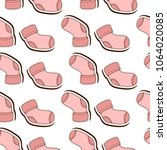 seamless pattern with  socks... | Shutterstock .eps vector #1064020085