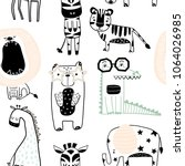 Stock vector seamless childish pattern with cute animals in black and white style creative scandinavian kids 1064026985