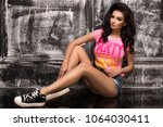 young sexy brunette woman in ... | Shutterstock . vector #1064030411
