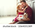 father's day. happy family... | Shutterstock . vector #1064031389