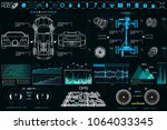 car auto service. hud ui style. ... | Shutterstock .eps vector #1064033345