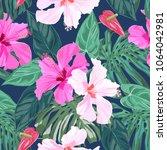 seamless tropical hand drawn... | Shutterstock .eps vector #1064042981