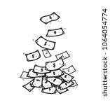 dollar bill money falling down... | Shutterstock .eps vector #1064054774