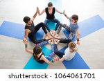 group of sporty happy people...   Shutterstock . vector #1064061701