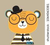 cute teddy bear in the hat... | Shutterstock .eps vector #1064063381