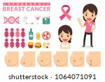 woman with breast cancer.... | Shutterstock .eps vector #1064071091