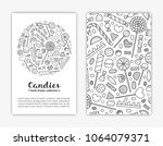 card templates with hand drawn...   Shutterstock .eps vector #1064079371