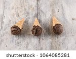 ice cream in waffle cone with... | Shutterstock . vector #1064085281