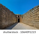 Small photo of The gate to the tomb of ancient king Agamemnon in Mycenae, Greece.