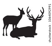 black deer silhouette vector... | Shutterstock .eps vector #1064092991