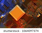 electronic circuit board close... | Shutterstock . vector #1064097374
