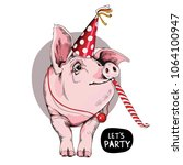 pig in a party cap and with a... | Shutterstock .eps vector #1064100947