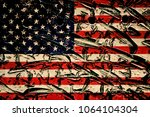 usa flag on metal plate | Shutterstock . vector #1064104304