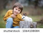 Stock photo cute little preschool boy playing with rabbits pets outdoors in garden 1064108084