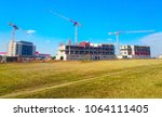 new construction site with... | Shutterstock . vector #1064111405
