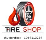 tires shop   tire with flame | Shutterstock .eps vector #1064113289