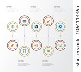 multimedia icons flat style set ... | Shutterstock .eps vector #1064114465
