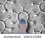 omnichannel retail concept. man ... | Shutterstock . vector #1064115284